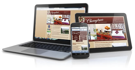 Cherrytrees B&B website designed for desktop, tablet and smartphone