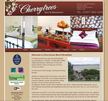 Cherrytrees Bed & Breakfast Website, Creetown