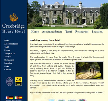 Creebridge House Hotel Website, Minigaff Newton Stewart, south west Scotland