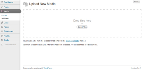 Upload New Media screenshot in WordPress
